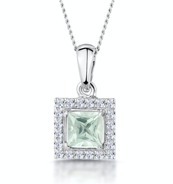 Aquamarine 1.40CT And Diamond 9K White Gold Pendant - image 1
