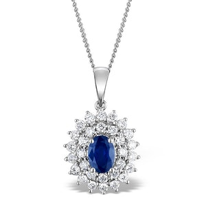 Sapphire 7 x 5 mm And Diamond 9K White Gold Pendant Necklace