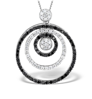 9K White Gold Black Diamond Circle Design Pendant 1.00ct