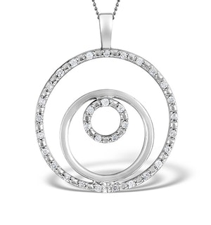 9K White Gold Diamond Circle Design Pendant 0.20ct