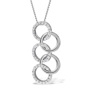 9K White Gold Diamond Interlinked Circle Pendant 0.21ct