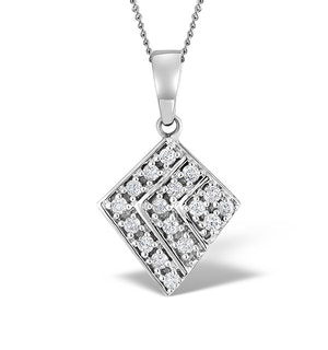 9K White Gold Diamond Design Pendant 0.21ct