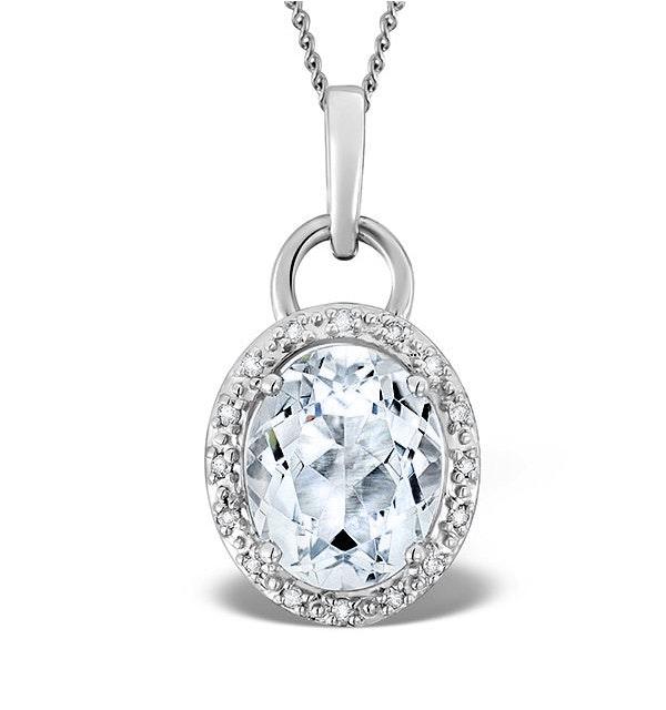 Aquamarine 2.69ct And Diamond 9K White Gold Pendant Necklace - image 1
