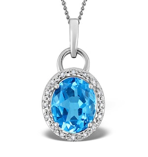 Blue Topaz 2.96CT And Diamond 9K White Gold Pendant