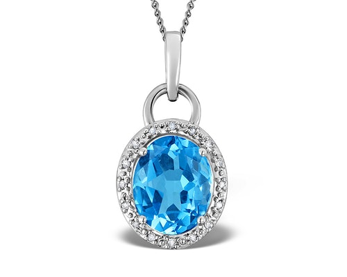 Blue Topaz White Gold Pendants And Necklaces