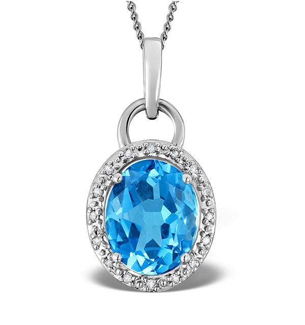 Blue Topaz 2.96CT And Diamond 9K White Gold Pendant - image 1