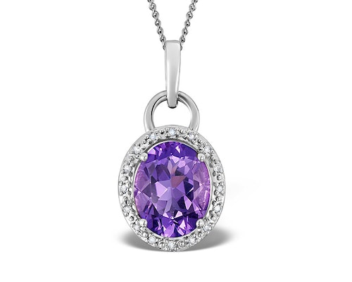 Amethyst White Gold Pendants And Necklaces