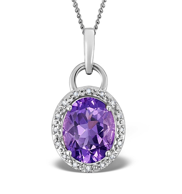 Amethyst 2.34CT And Diamond 9K White Gold Pendant Necklace - image 1