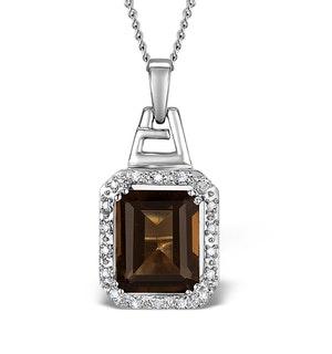 Smokey Quartz 3.56CT And Diamond 9K White Gold Pendant Necklace