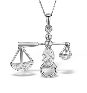 9K White Gold Diamond Libra Pendant Necklace 0.06ct