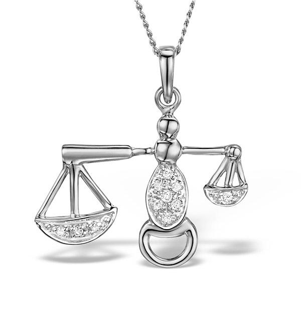 9K White Gold Diamond Libra Pendant Necklace 0.06ct - image 1