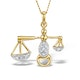 9K Gold Diamond Libra Pendant 0.06ct - image 1