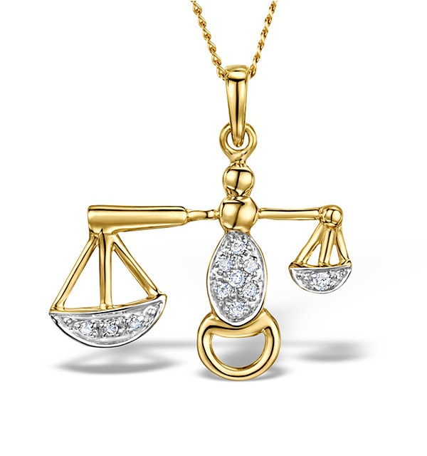9K Gold Diamond Libra Pendant Necklace 0.06ct - image 1