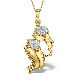 9K Gold Diamond Gemini Pendant Necklace 0.10ct