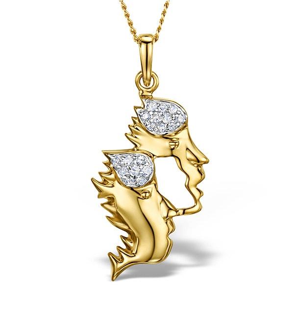 9K Gold Diamond Gemini Pendant Necklace 0.10ct - image 1