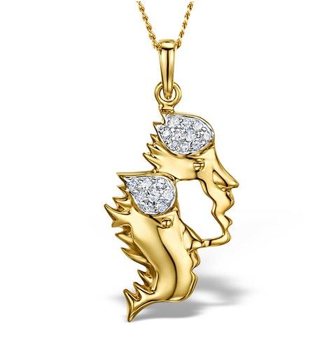 9K Gold Diamond Gemini Pendant 0.10ct - image 1