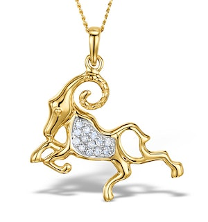 9K Gold Diamond Aries Pendant 0.07ct