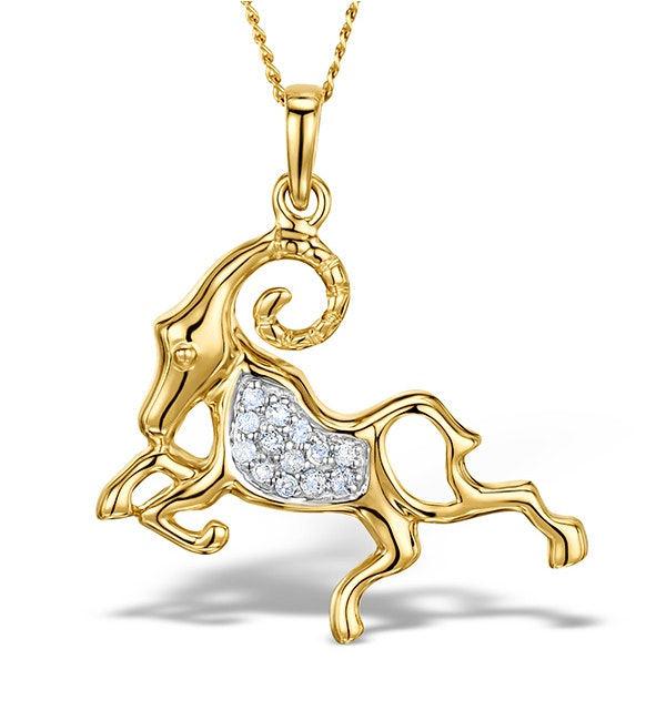 9K Gold Diamond Aries Pendant Necklace 0.07ct - image 1