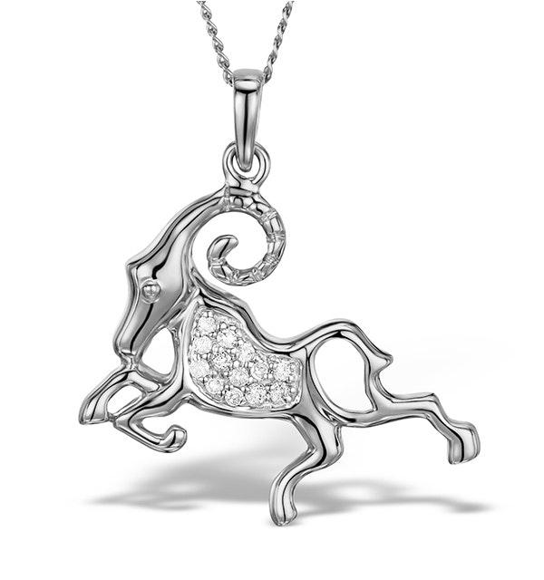 9K White Gold Diamond Aries Pendant Necklace 0.07ct - image 1
