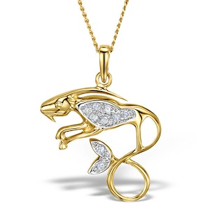 9K Gold Diamond Capricorn Pendant Necklace 0.06ct