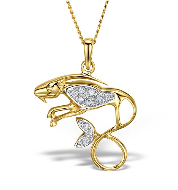 9K Gold Diamond Capricorn Pendant Necklace 0.06ct - image 1