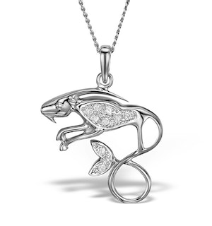 9K White Gold Diamond Capricorn Pendant Necklace 0.06ct