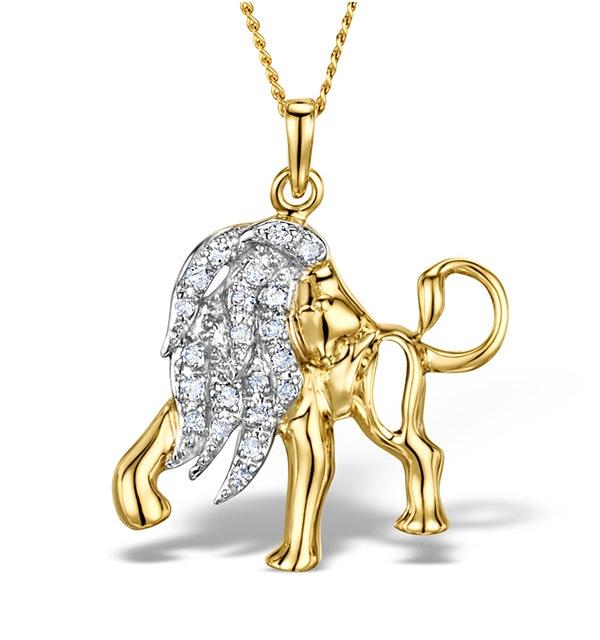 9K Gold Diamond Leo Pendant Necklace 0.12ct - image 1