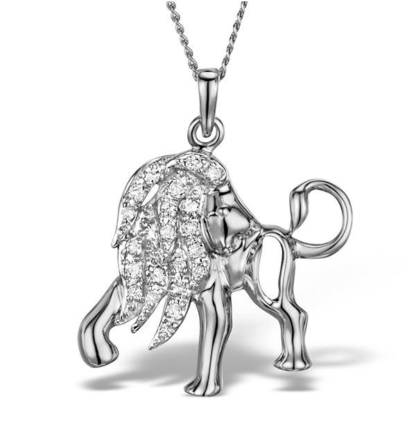 9K White Gold Diamond Leo Pendant Necklace 0.12ct - image 1