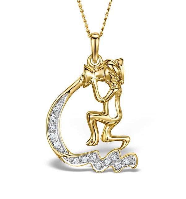 9K Gold Diamond Aquarius Pendant Necklace 0.07ct - image 1