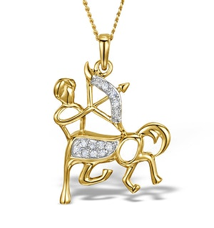 9K Gold Diamond Sagittarius Pendant Necklace 0.06ct