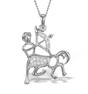 9K White Gold Diamond Sagittarius Pendant Necklace 0.06ct