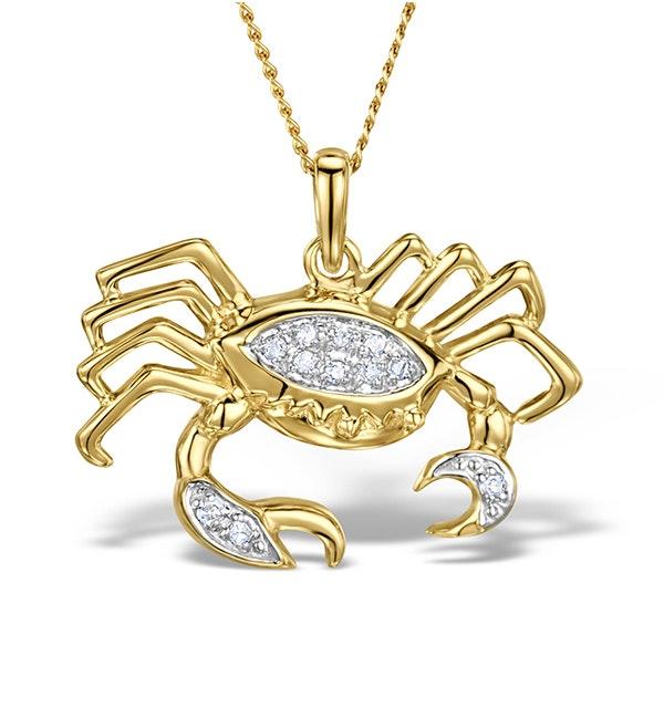9K Gold Diamond Cancer Pendant Necklace 0.06ct - image 1
