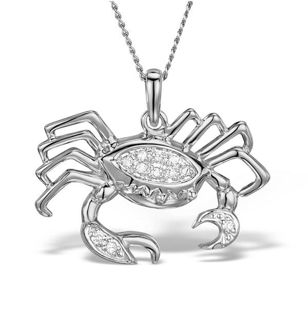 9K White Gold Diamond Cancer Pendant Necklace 0.06ct - image 1