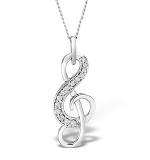 9K White Gold 0.10ct Diamond Treble Clef Music Pendant Necklace
