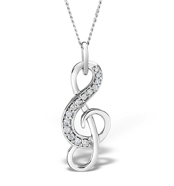 9K White Gold 0.10ct Diamond Treble Clef Music Pendant Necklace - image 1