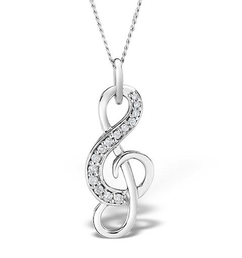9K White Gold 0.10ct Diamond Treble Clef Music Pendant - image 1