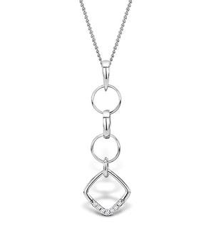 0.04ct Diamond and 9K White Gold Pendant - G4056