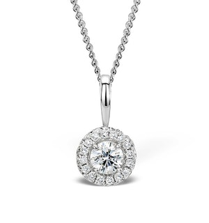 Ella 0.30ct Halo Diamond and 9K White Gold Pendant - G4057