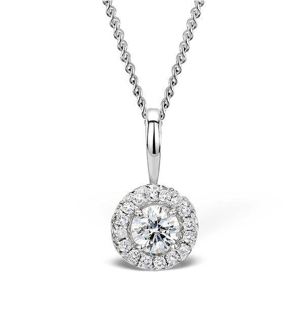 Ella 0.30ct Halo Lab Diamond and 9K White Gold Pendant - image 1