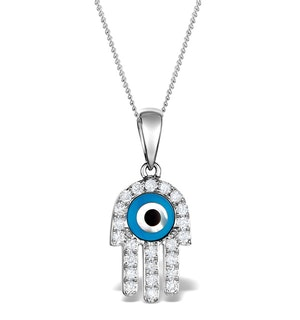 0.32ct Diamond and 9K White Gold 'Evil Eye' Hamsa Pendant Necklace