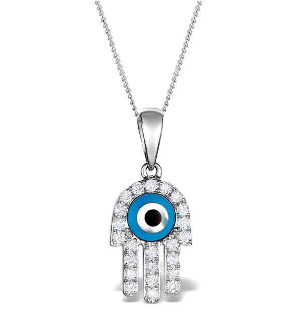 0.32ct Diamond and 9K White Gold 'Evil Eye' Hamsa Pendant Necklace - image 1