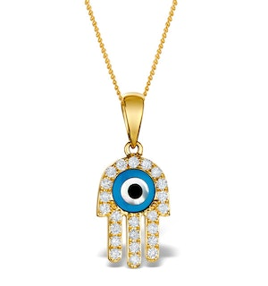 0.32ct Diamond and 9K Gold 'Evil Eye' Hamsa Pendant