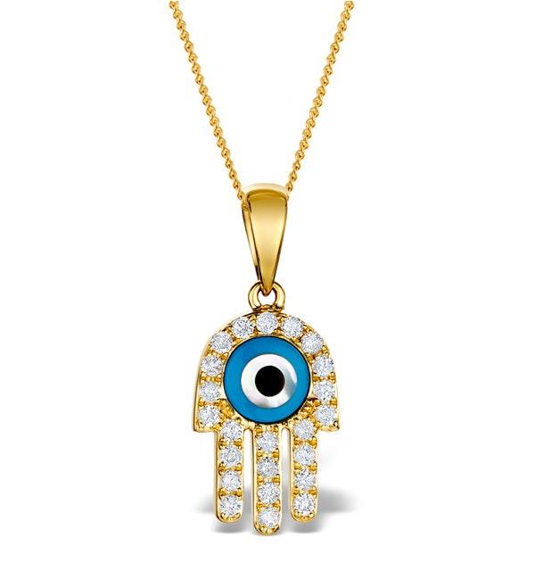 0.32ct Diamond and 9K Gold 'Evil Eye' Hamsa Pendant Necklace - image 1