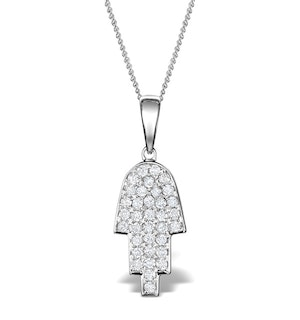 0.33ct Diamond and 9K White Gold Hamsa Pendant