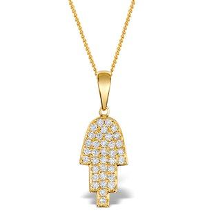 0.33ct Diamond and 9K Gold Hamsa Pendant