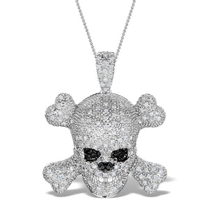 Black Diamond And Diamond 9K White Gold Skull And Crossbone Pendant