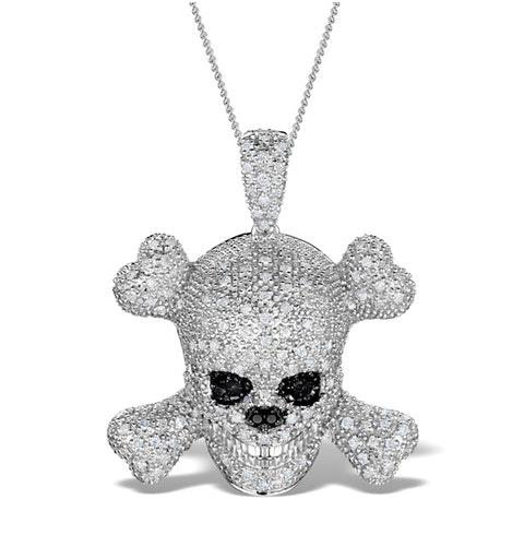Black Diamond And Diamond 9K White Gold Skull And Crossbone Pendant - image 1