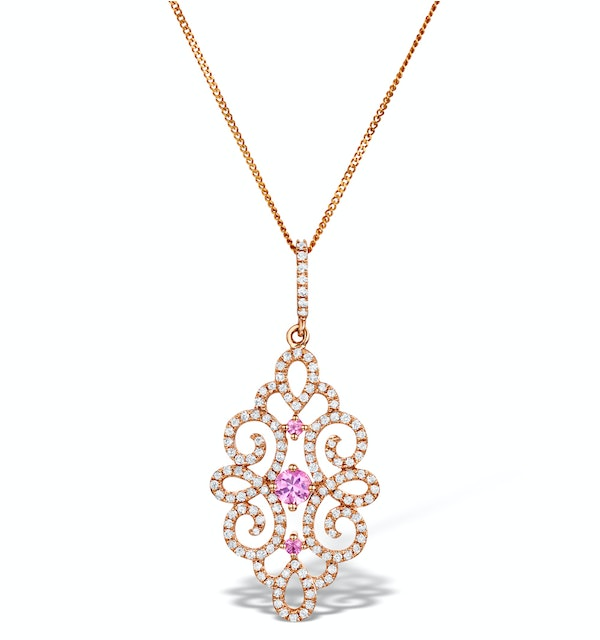 Vivara Collection Diamond and Pink Sapphire 9K Gold Pendant G4068 - image 1