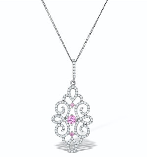 Vivara Collection Diamond and Pink Sapphire 9K Gold Pendant G4068Y