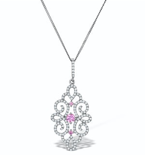 Vivara Diamond and Pink Sapphire 9K Gold Pendant Necklace G4068Y